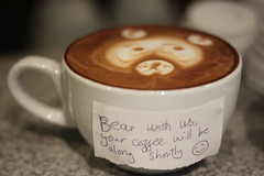 Bear with us.... (RobsonBarista) Tags: bear art coffee sign work milk funny foam tulip tips espresso latte cappuccino expresso barista rosetta