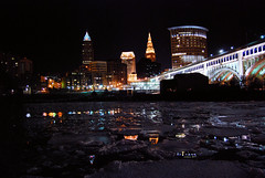ice ice (.:Chelsea Dagger:.) Tags: city bridge winter ohio usa seagulls snow cold reflection ice water weather birds skyline night buildings dark photography lights downtown cityscape unitedstates cleveland bridges clevelandohio flats nighttime american icy theflats clearnight chelseadagger chelseakaliwhatever cmckeephotography chelseamckee