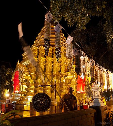 Temple at Night, Chiang Mai, Thailand