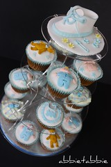 Baby Shower Cupcakes displayed .... (abbietabbie) Tags: blue boy baby feet cakes fruit train cupcakes teddy bib blanket icing marzipan rattle fondant nappypin