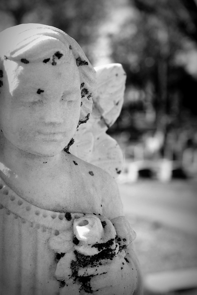 Cemetery Angel with Flower