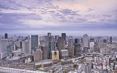 Osaka from Floating Garden Observatory (Sarmu) Tags: city sunset wallpaper sky urban building japan skyline architecture skyscraper observation twilight highresolution downtown cityscape view skyscrapers widescreen 1600  highdefinition resolution  1200 osaka cbd hd bluehour wallpapers kansai hdr umeda 1920 vantage 2010 umedaskybuilding observationdeck vantagepoint ws 1080  1050 720p 1080p urbanity 1680 720 2560 floatinggardenobservatory sarmu