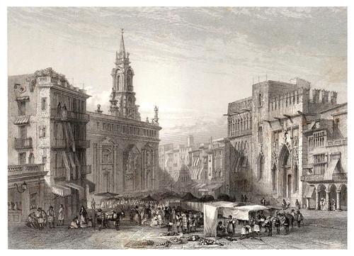 032-Valencia-Plaza del Mercado-Voyage pittoresque en Espagne et en Portugal 1852- Emile Bégin