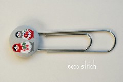 Bookmark- Grey (coco stitch) Tags: grey etsy bookmark japanesefabric matryoshkadoll bigclip cocostitch