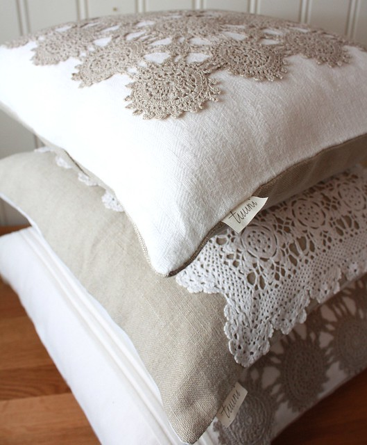 Linen and Lace Pillow Covers