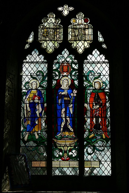 St. Crispen with shoes and awls stained glass by Francis Skeat