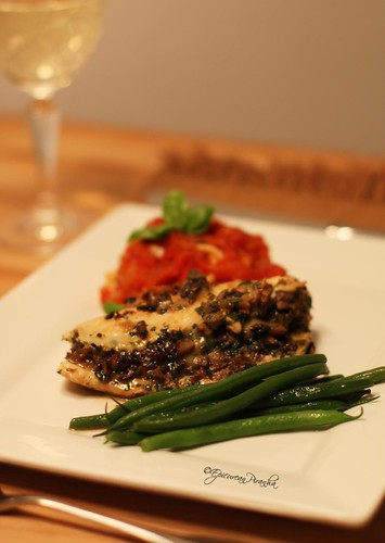 Chicken breast stuffed with cheese and a fragrant duxelle of mushrooms