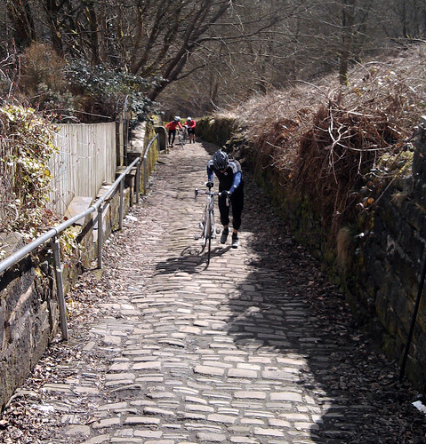 Steep cobbled climb