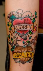 Tribute to my Grandparents (xlungex) Tags: flowers thread hammer tattoo ego saw heart pins needle tribute script emeraldcitytattoo