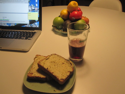 Tofu spread on toast, grape juice