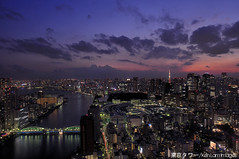 Tokyo sunset....../ ...... (Ken.Lam) Tags: pink building tower st japan night reflections river tokyo twilight cityscape view illuminations bridges tsukiji   lukes sumida  kachidoki hdr offices urbanscape shiodome dentsu          kenlam  rejoct2010