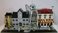 Not your average day in LEGO City (DARKspawn) Tags: street city building robot town office lego space alien crowd police run panic minifig mecha mech