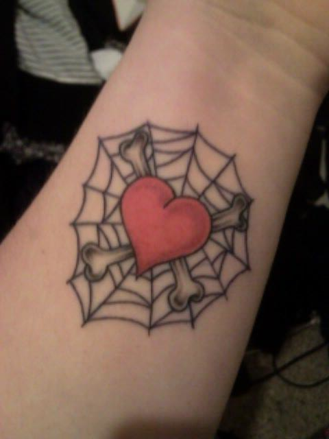 heart web tattoo. my second tattoo.. originally i just wanted the heart with