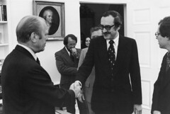 Fifth Archivist of the United States Dr. James B. Rhoads Shaking Hands with President Gerald Ford, June 14, 1976