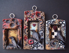 Ravens Watch- pendants (gabriel studios) Tags: red black bird texture moody heart handmade oneofakind painted clay ethereal crow etsy raven sculpted pendants polymer gabrielstudios michelegesing