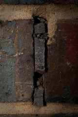 Between the Cracks (Luke Gamon) Tags: wood macro brick wall canon crack mortar bricksandmortar hybridis 28lmacro 100mm28l canon100mm28lmacro