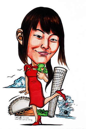 Lady caricature in cheongsam