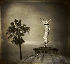 The Abbey, San Diego (Artypixall) Tags: roof texture church statue composite sandiego palmtree theabbey historiclandmark bankershill