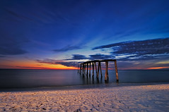 'Piering' into Evening Gulf Coast Blues (Fort Photo) Tags: ocean statepark longexposure blue sunset beach stars star evening coast pier sand nikon glow gulf florida decay sandy footprints shore hour fl panhandle 2010 cto d300 sb800 floridapanhandle strobist camphelen superaplus aplusphoto tokina1116