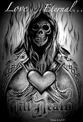 Love Eternal...Till Death TATTOO design by Denise A. Wells (Denise A. Wells) Tags: blackandwhite detail love beautiful tattoo dead death skull design artwork kiss couple nocturnal emotion affection drawing decay warmth younglove marriage obsession valentine creepy desire exotic ashes cuddle passion devotion unusual lettering sexual lover striking embrace bodyart beloved pleasure skinart grotesque grimreaper adoration morgue techniques loyalty evildead passionate bemyvalentine eternallove shading irezumi tattoodesign lifeless wedlock tattooflash beautifuldeath beinlove oldenglishlettering skulladay backpiecetattoo grimreapertattoo freetattoodesigns shadingtechniques evilskull deniseawells rottingcanvas evilskullart azraildvmesi crosshatchingshading artistshadingtools shadingtechniqueswithpencil realisticpencildrawings tattoocreator wickedtattoosdesigns