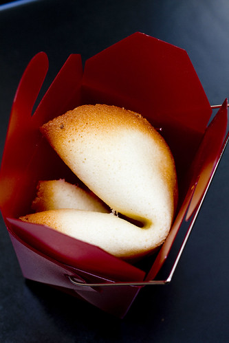 fortune cookies in red take-out box
