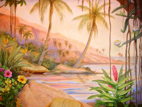 Beautiful Mural in the Spa at Four Season Lanai at Manele Bay