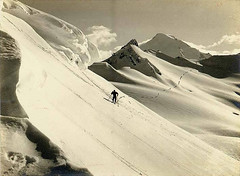 Skier traveling past Coleman Creek and Camp Ki...