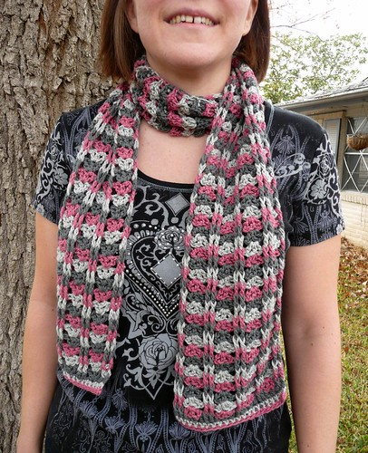 Cables and Lace Crochet Scarf