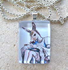 Surreal Donkey Woman- Rectangle Glass Photo Pendant with Black Leather Cord- BEATRIX AND HER KNEES - by DeadpanAlley (BeansThings) Tags: horse woman white art glass necklace dress drawing tan cream donkey jewelry flirty paleblue pendant mule oldfashioned beansthings deadpanalley