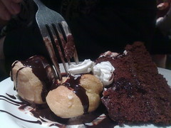 Double trouble (Flickr Widow) Tags: chocolate cream badboy profiteroles monkeyiron nothomemadeorlowfat