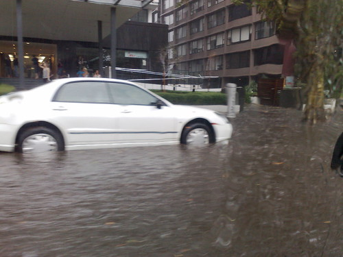 St Kilda Road flooded