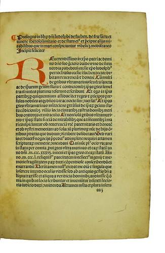 Incipit title and manuscript capital strokes, paragraph marks and underlining in Ludolphus Suchensis: Iter ad Terram Sanctam