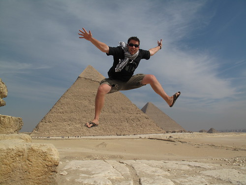 Jumping over the Great Pyramids of Giza