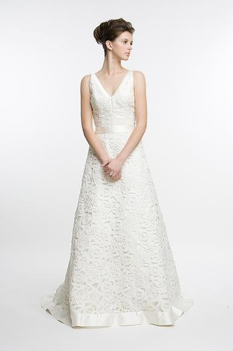 Couture Wedding Gowns with A-line silhouette and a modern lace