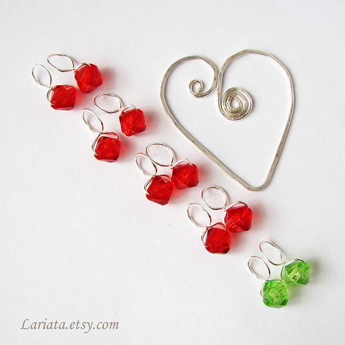 stitch markers and a heart holder