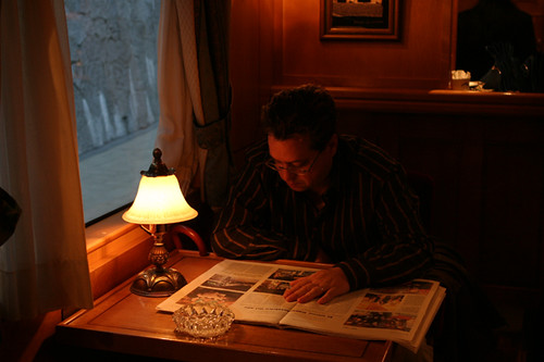 El Transcantabrico - passenger reading in a dining carriage