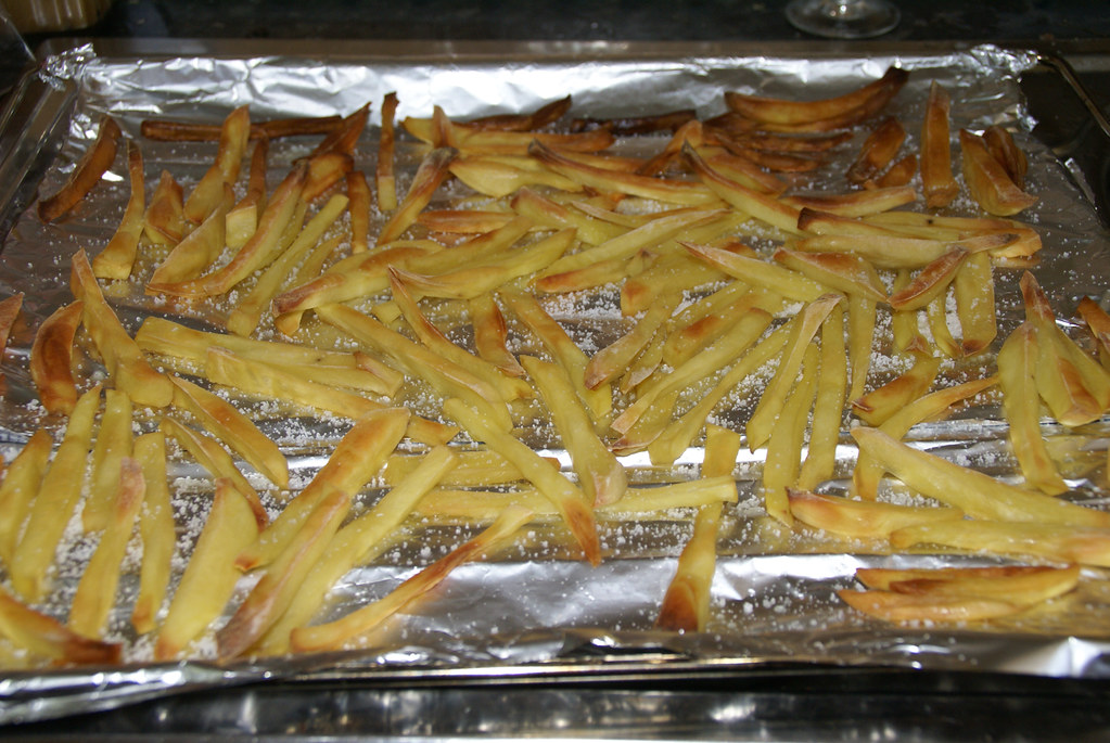 Potatoes in oven's tray