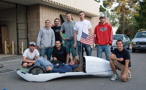 ME Students in front of their Super Mileage Vehicle, 2009