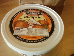 Multimedia message (pinkhoneycombs) Tags: autumn fall cheese pumpkin spread yummy seasonal cream tasty delicious limitededition brueggers pumpkincreamcheese