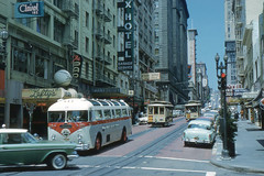 San Francisco - Powell Street (1959) (roger4336) Tags: sanfrancisco california hotel crane cablecar chancellor lefty stfrancis manx 1959 powellstreet leftyodoul leftyodouls
