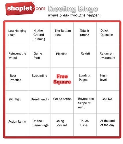 Shoplet.com Meeting Bingo