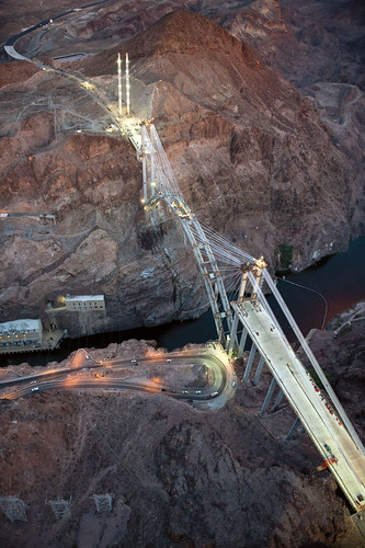Hoover Dam with lights