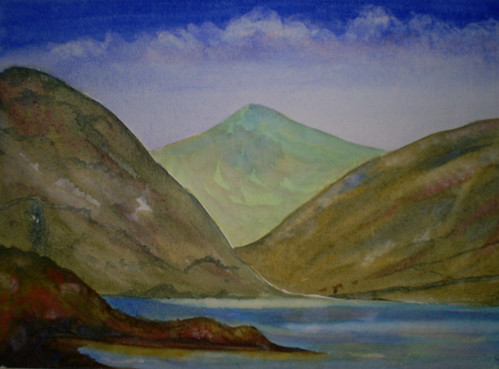 WIP - watercolour painting, Wasdale Head, Cumbria