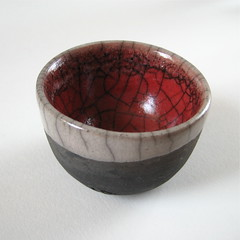 Little Red and White Raku Bowl (Jude Allman) Tags: red white black ceramic ceramics handmade crafts craft bowl pot pots jude jar pottery bowls jars crackle raku stoneware folksy allman