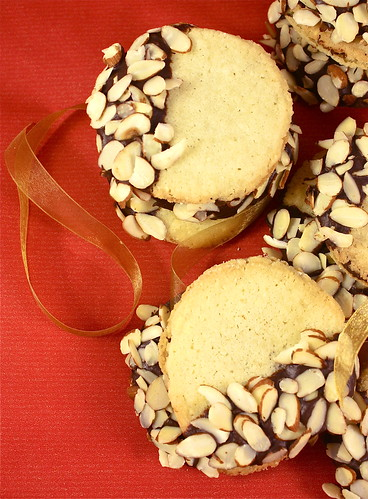 Chocolate Almond Dipped Sandwich Cookies