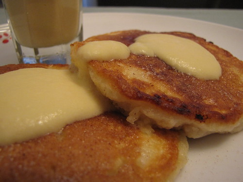 Bread Pudding Pancakes with Vanilla Custard Sauce and Cinnamon Sugar ...