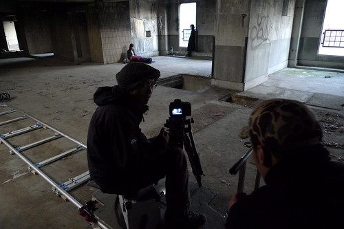 Shooting a scene in an abandoned building