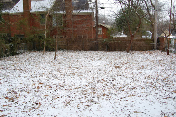 One half of the snowy backyard