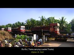 Trucks on Indian Railway Tracks ! (GOPAN G. NAIR [ GOPS Creativ ]) Tags: india truck photography railway roro udupi konkan gops gopsorg gopangnair