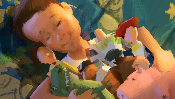 Toy Story 3 colorful script art